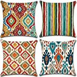 Boho Throw Pillow Covers 18x18 Decorative Pillow Covers for Bedroom,Couch,Sofa & Car Cushion,Cute Outdoor Pillow Covers Cases,Soft Cotton Linen Lumbar Pillow Covers,Holiday Pillow Covers 4pcs