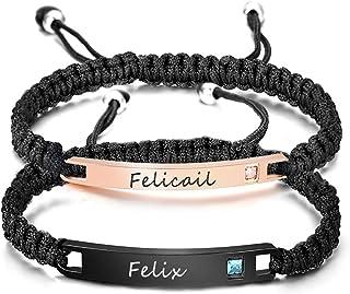 YoPicks Custom Couple Bracelets, Engraved His and Hers Matching Set Bar Bracelet Personalized...