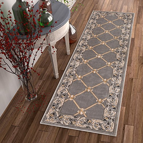 Patrician Trellis Grey Lattice Area Rug European French Formal Traditional Area Rug 3' x 12' Runner Easy Clean Stain Fade Resistant Shed Free Classic Contemporary Thick Soft Plush Living Dining Room