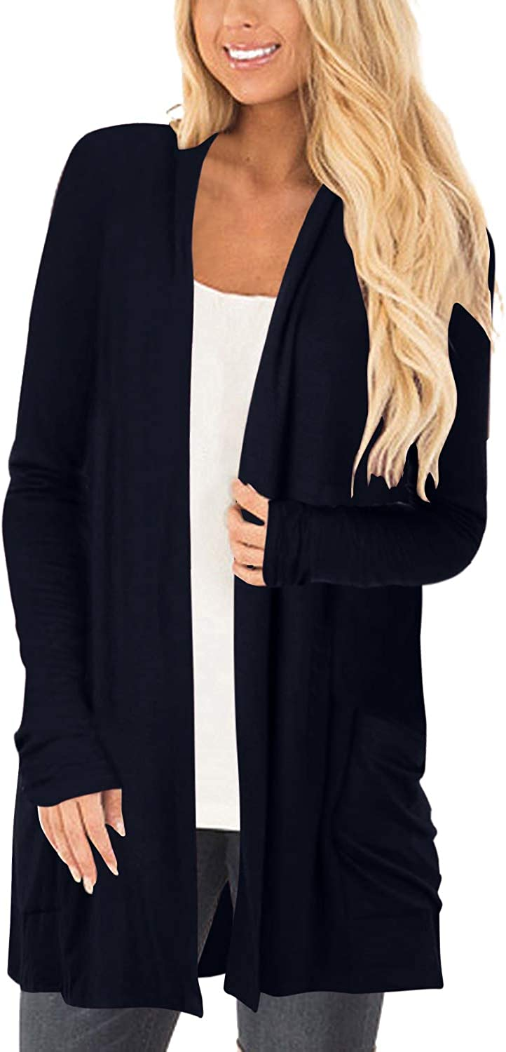 YOINS Knit Cardigans for Women Casual Open Front Long Sleeve Knitwears Sweater Causal Blouse