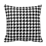 Black and White Houndstooth Pattern Pillow Square 18 x 18 Inches Pillow Case Cushion Cover