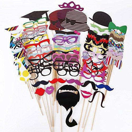 Akord, HO-153, foto-rekwisieten, snor lippen op een staaf, 76 stuks, feest, verjaardag, bruiloft, meerkleurig, 76 stuks