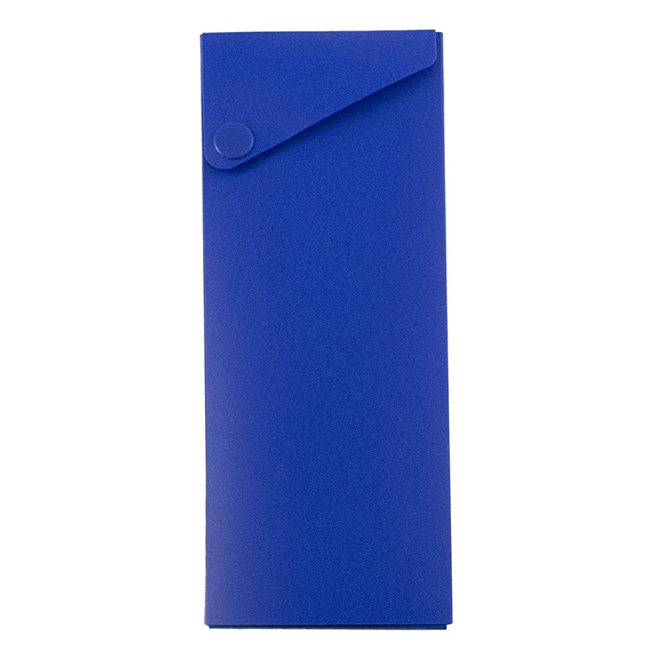 JAM PAPER Plastic Pencil Cases - Sliding Pencil Case Box with Button Snap - Blue - Sold Individually