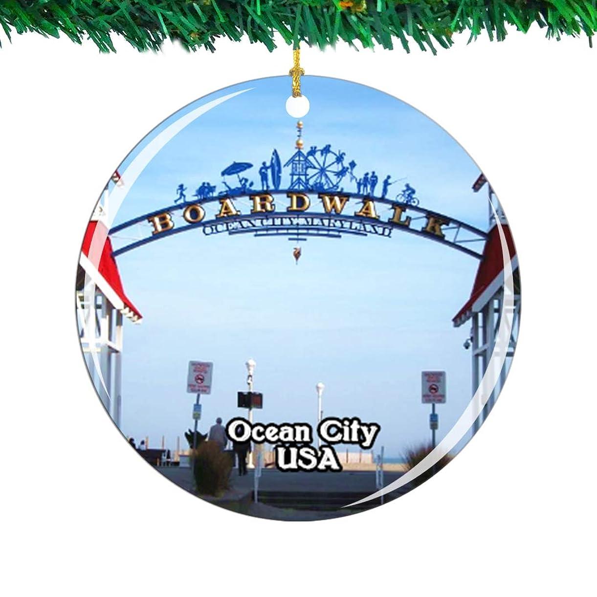 付属品要旨最高Weekino アメリカアメリカオーシャンシティボードウォーククリスマスオーナメントシティ旅行お土産コレクション両面 磁器2.85インチ ぶら下がっている木の装飾
