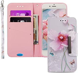 JanCalm iPhone 7 8 Wallet Case [Folio Cover][Stand Feature] Premium [Flower] Pattern iPhone 7/8 (4.7 inch) Credit Card Flip Case Protective PU Leather with Card Slot + Wrist Strap + Crystal Pen
