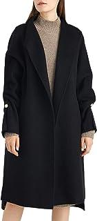 Women's Long Wool Trench Coat Winter Oversize Handmade Lapel Cardigan Overcoat