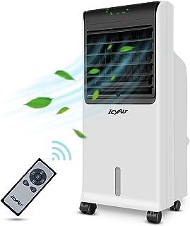 Aire Acondicionado Móvil, Enfriador de Aire Portátil con Cristal de Hielo y Control Remoto, Climatizador Evaporativo Silencioso de Bajo Consumo de Energía con Humidificación para Hogar y OficinayAir