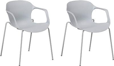 Beliani Set of 2 Dining Chairs Plastic Grey ELBERT