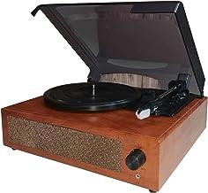 Queenser Gravador de Vinil portátil com Gramofone Fonógrafo de Mesa Giratória Clássico Vintage com Alto-falantes Estéreo