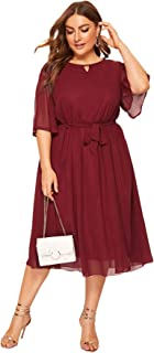 Women's Plus Size Chiffon Elegant Flared Short Sleeve Belted Cocktail Party Swing Midi Dress