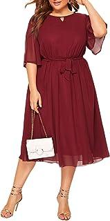 Women's Plus Size Chiffon Elegant Flared Short Sleeve...