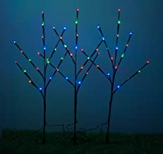 WED 26 Inch 60 Led Brown Wrapped Lighted Branch Stake, 3 Pack Set, Multi-Color Light for Outdoor and Indoor Use