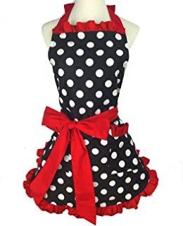 Retro Apron for Women Super Cute and Funny Bowknot with 2 Pockets Adjustable Cotton Polka Dot Delicate Hemline Black Red