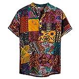 Skang Camisa Hawaiana para Hombre,Vintage Tradicional Africana Estampado Cuello Mao Botones Regular Fit Camiseta Henley BlusaTops