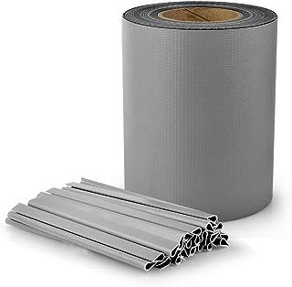 S SIENOC PVC Valla Protectora de Privacidad 35m x 19cm Doble Varilla Valla Pantalla Proteción Visual para Jardín Terraza (35m x 19cm, Gris)