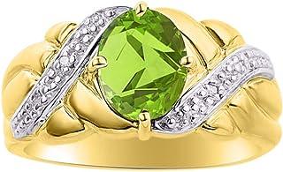 RYLOS Anillo de mujer clásico con gema ovalada y diamantes brillantes auténticos en plata chapada en oro amarillo de 14 K ...