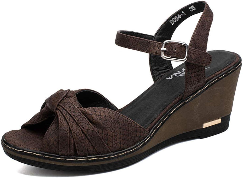 MEIZOKEN Women's Open Toe Ankle Strap Plaform Wedge Sandals Fashion Bowtie Buckle Snakeskin Anti-Slip Sandal