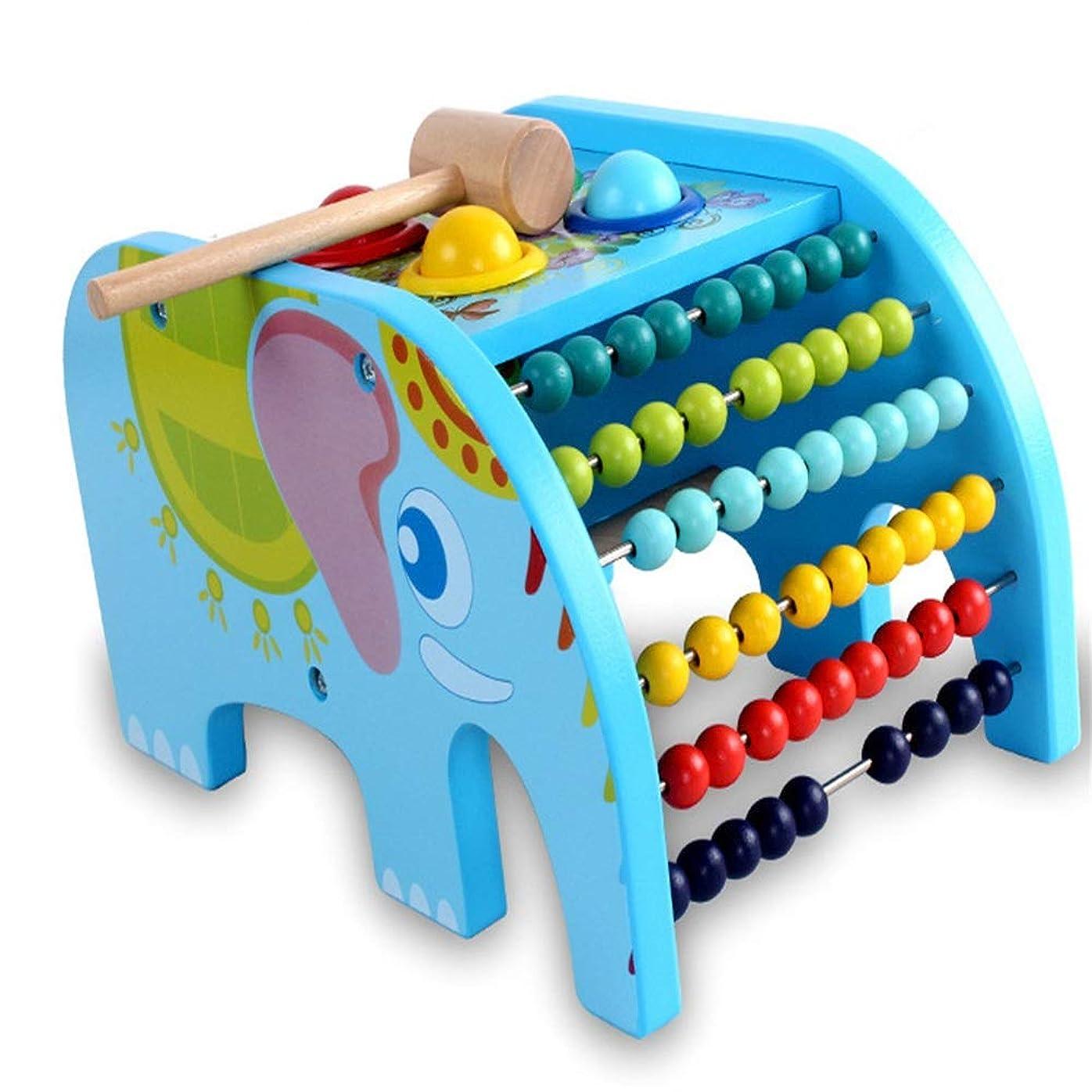 施設空中造船クラシックカウント計算機 多機能ベビーパズル 木製フラップ 象 ビーティングテーブル 数え方 ビーズ玩具 ブルー