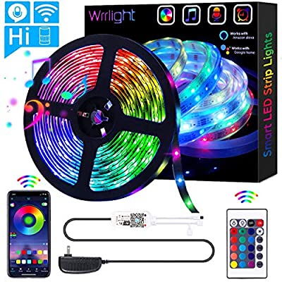 LED Strip Lights, WiFi 32.8FT 10M 300 LEDs SMD 5050 Color Changing Rope Lights Work with Alexa Google Assistant Strip Lights Wireless Phone APP Controlled Rope Light Waterproof Flexible Tape Lights
