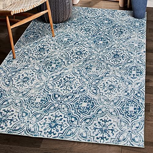 ReaLife Tapis Lavable en Machine – Fabrique a partir de Fibres recyclees de Haute-Qualite - Mosaic Tile Blue, 90 x 150 cm