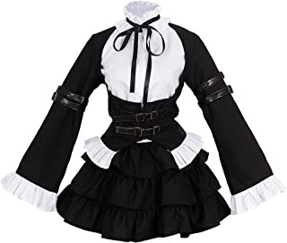 Fairy Tail Anime Erza Cosplay Costume Girls Uniform Black Maid Outfits