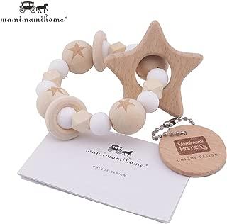 Mamimami Home 木育 歯固め 星型 ラトル 赤ちゃんのおもちゃ チュアブル ブレスレット 授乳ジュエリー 歯がため シリコーンホワイトビーズ [BPAフリー]「FDA認可済」