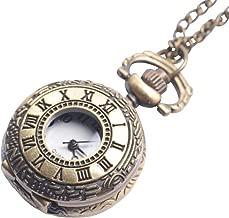 81stgeneration Men's Women's Analogue Quartz Roman Numbers Pocket Watch Brass Pendant Necklace, 78 cm