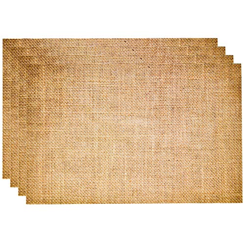 """Disposable Burlap Printed Paper Place Mats 50 Pack 11""""x 17"""" Rectangle Rustic Natural Brown Chargers Place mat for Vintage Country Farmhouse Tan Table Setting Mat Dinner Kitchen Party Decorations"""