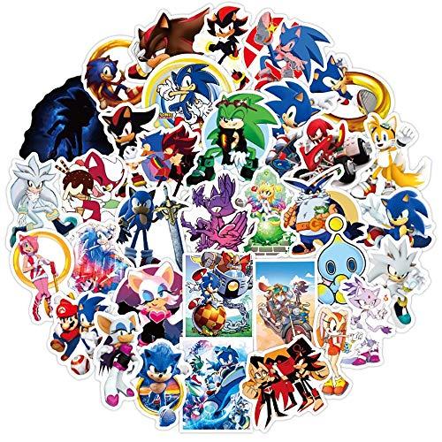 WEIGUANG Pegatinas de Juego de Anime Sonic DIY, Motocicleta, Equipaje de Viaje, Guitarra, monopatín, Pegatina de Graffiti Genial, calcomanía para Chico, Juguete, Regalo, 50 Uds.