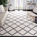 Safavieh Dallas Shag Collection SGD258F Trellis 1.5-inch Thick Area Rug, 8' x 10', Ivory/Grey