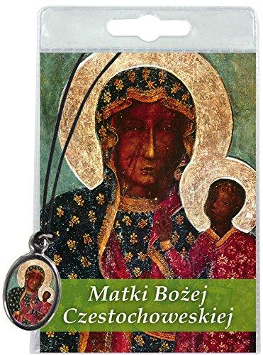 Medalla Nuestra Señora de Czestochowa con cordón y oración en polaco