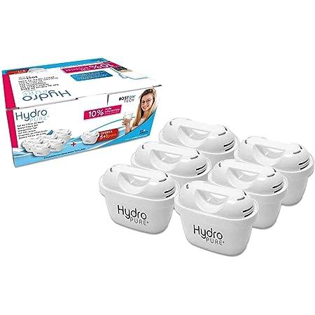 Boston Tech Hydro Pure + 6 Cartouches, filtres compatibles Brita Maxtra Eau avec des cruches et Maxtra +, Effet prolongé (12 Mois, 6 x 60 Jours par Filtre) réduit la Chaux et du Chlore. Grande saveur
