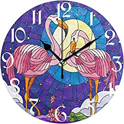 JUJUE Spring Flamingo Lotus Palm Wall Clock Silent Non Ticking Sunflowers Floral Clocks Battery Operated Desk Clock 10 Quiet Bedroom Living Room Decorative Clock