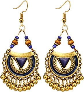Kofun Earrings, Traditional Chandbali Kundan Jhumka Jhumki Beaded Jingle Bell Earrings for Women 7#