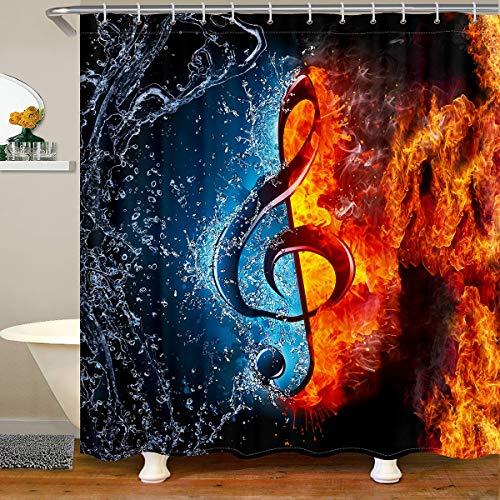 Cortina de ducha con temática musical, diseño de llamas, notas musicales de lujo, cortina de baño para niños, niñas, hombres, mujeres, estilo hipster, 180 x 240 cm