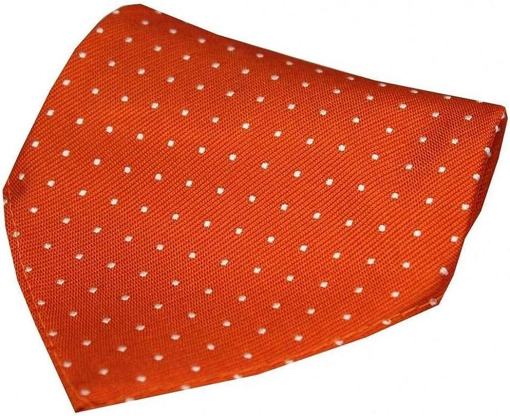 David Van Hagen Mens Pin Dot Silk Handkerchief - Orange/White