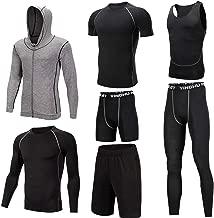 Huangxiaofang Trainingskleidung für Herren Kompressionshose Hosen, 3er Pack Tshirt 2er Pack Shorts 7 Stück Herren Trainingsbekleidung mit Outwear für Radfahren Laufen Gym Fitness