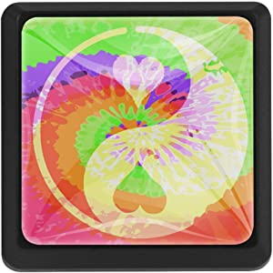 Hippie Style Peace Square Cabinet Door Drawer knobs Pulls for Home Office Kitchen 3 Pack