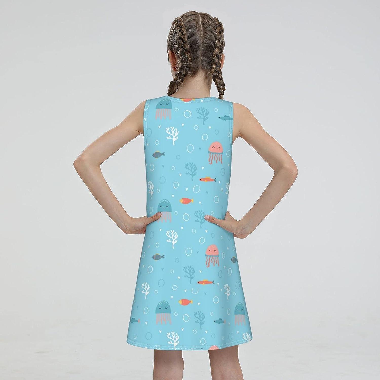 WAMEI Cartoon Jellyfish Big Girls Sleeveless Dress Summer Beach Dress Casual Tank Outfit Sundress 7-16 Years