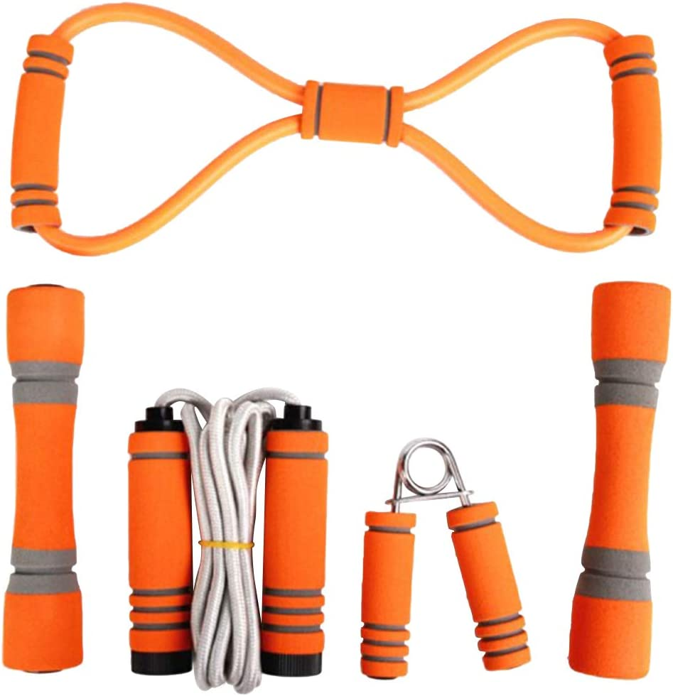 Abaodam 5pcs Skipping Rope Hand Cheap mail order sales Puller Dumbbell Gripper New products, world's highest quality popular! Set Exer