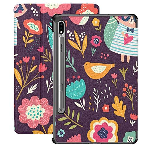 Funda Galaxy Tablet S7 Plus de 12,4 Pulgadas 2020 con Soporte para bolígrafo S, Funda Protectora Delgada con Soporte Delgado de Flores de Mapache para Samsung
