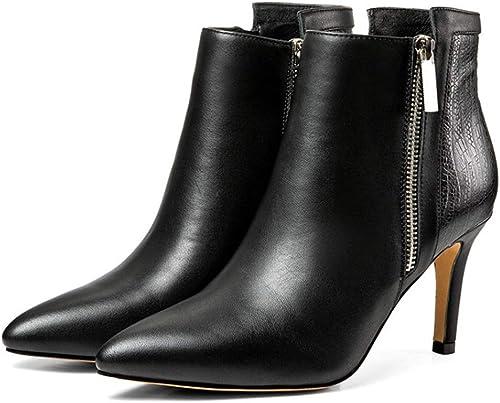 YAN Bottes de Femmes Printemps & Fall Cuir Noir Martin Bottes Fashion Pointu Stilettos Mariage et Chaussures Formelles de soirée,noir,36