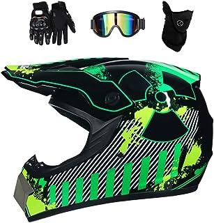 Motocross Helm mit Brille, Adult Off Road Motorradhelm Crosshelm Set Handschuhe Maske, Unisex Fullface Cross Helm Downhill Quad Enduro ATV Motorrad Schutzhelm für Herren Damen, Grün