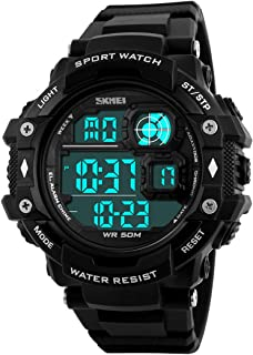 Mens Military Sports Watches Multifunction Alarm Stopwatch 12/24H 50M Waterproof LED Digital Watch