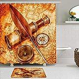 vhg8dweh Juegos de Cortinas de baño con alfombras Antideslizantes, Vintage Compass Telescope Feather Pen Reloj de Bolsillo Mapa Antiguo,con 12 Ganchos