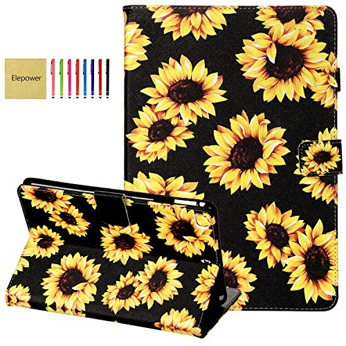 iPad Mini Case, iPad Mini 2/3/4/5 Case, Elepower Slim Folio Flip Stand Premium PU Leather Wallet Case with Smart Auto Wake/Sleep Protective Cover for Apple iPad Mini 1 2 3 4 5, Sunflower