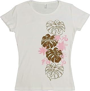 (ムームーママ) MuuMuuMama 半袖 フライス Tシャツ タヒチアンモンステラ柄 白×モカ&ピンク