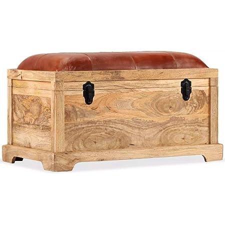 vidaXL Sheesham-Holz Massiv Sitzbank mit 2 Armlehnen Flurbank Sitztruhe Truhenbank Holzbank Holztruhe Truhe Bank Garderobenbank 103x33x72cm