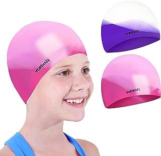 Vorshape Swim Cap Kids (2 Pack), Durable Waterproof...