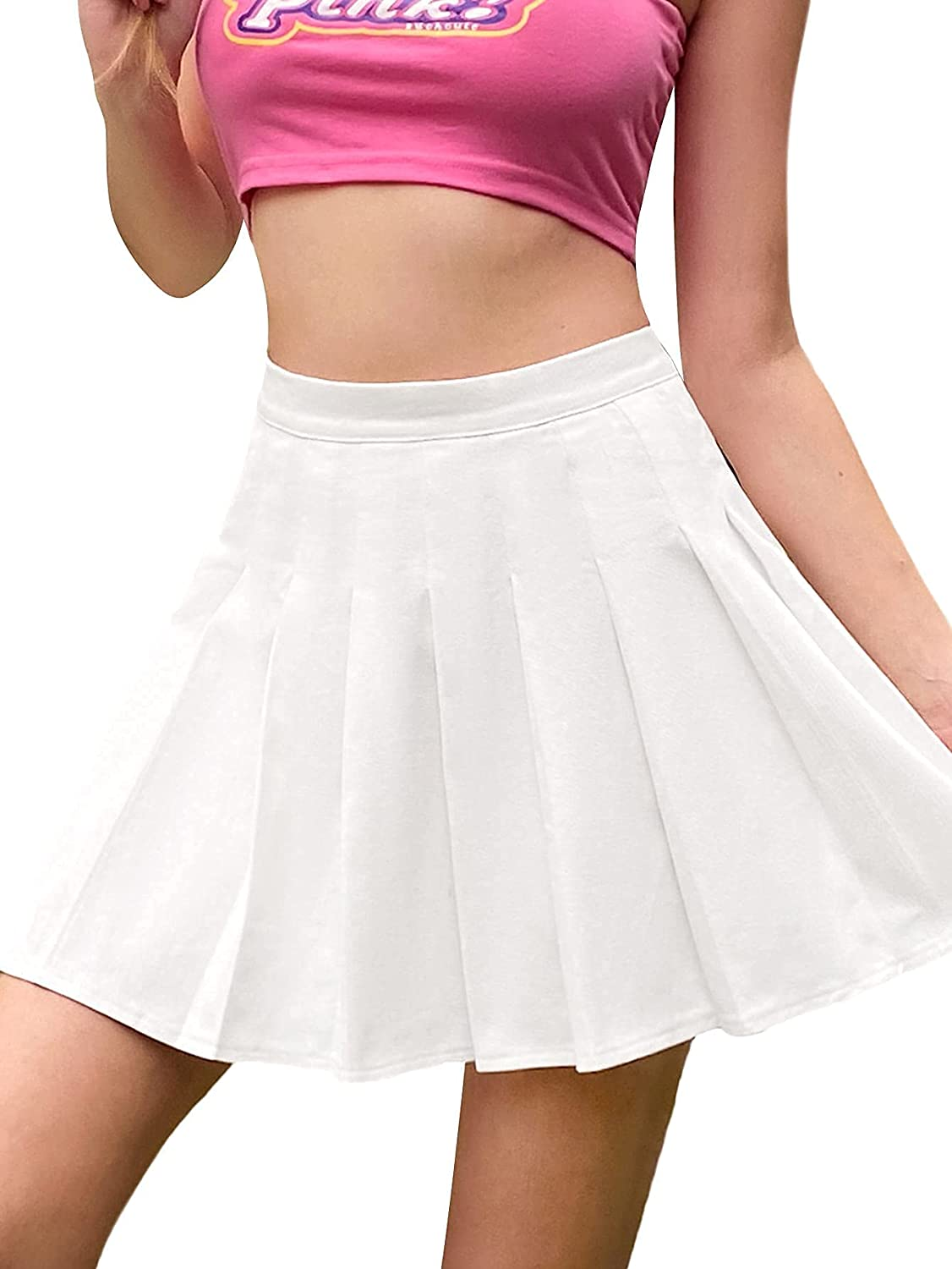 Romwe Women's A Line Flared Casual Pleated High Waisted Mini Skater Skirts